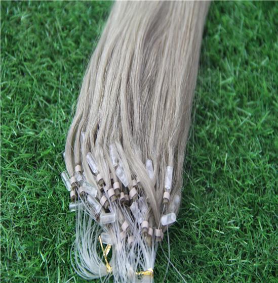 Extensions de cheveux micro anneaux couleur boucle blonde anneau 10-30 pouces boucle anneau 1g / brin 100g extensions de cheveux de lien micro perle