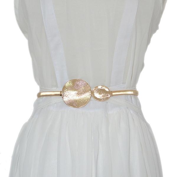 Gold CircularSmooth Buckle Wedding Designer Elastic Belts For Women Girl,Stretch Skinny Waist Belt Cummerbunds Metal Female Belt