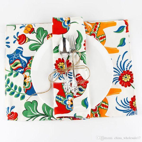 Лошадь печать ткани холст салфетка теплоизоляция коврик обеденный стол коврик детский стол Салфетка ткань страны салфетки