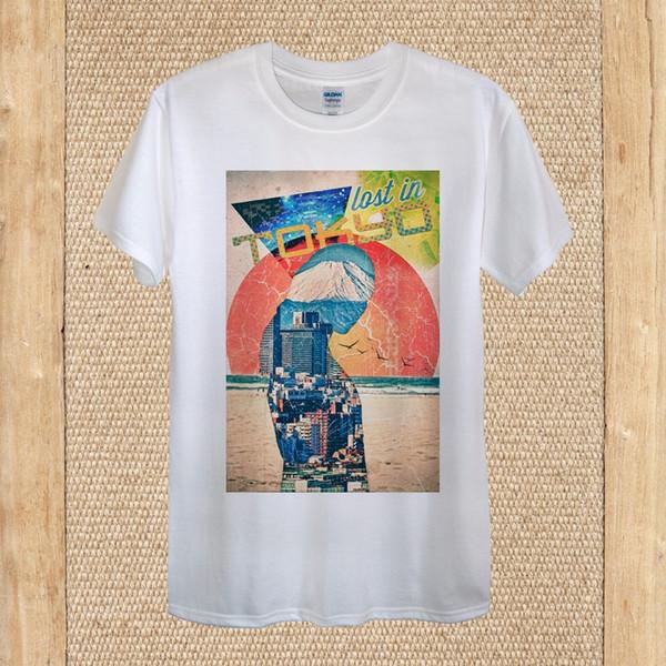 Japón Lost In Tokyo Sunset Creative camiseta 100% algodón mujeres unisex