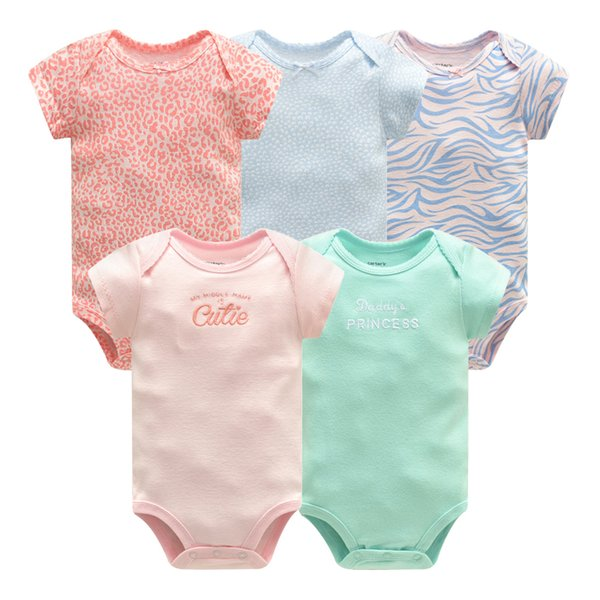 5 pcs/lot Newborn Clothes Baby Girl Clothing Set Short Sleeve Cotton Jumpsuit Toddler Boys Summer Romper Infant Outfits