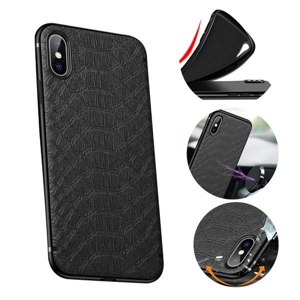 Motif crocodile Téléphone cas pour l'iPhone 11 Pro Max XS XR X 8 7 6S plus souple TPU Construit en métal couverture arrière