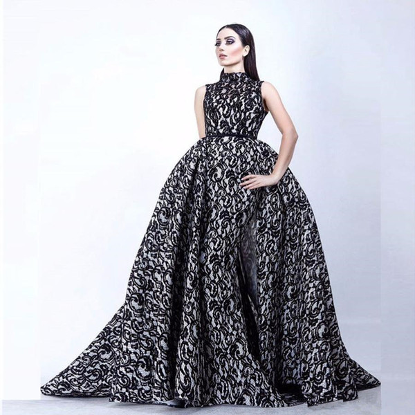 2019 Luxusmode Vestidos De Formature Schwarz und Weiß Abendkleid Hoher Kragen Ärmellose Meerjungfrau lange Ballkleider mit Überrock