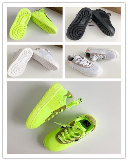 (bxo) OW Off Air Forced 1 Volt 2.0 Zapatillas de deporte para niños Blanco Naranja Amarillo Negro Niños Chicas Moda Calzado deportivo caliente EUR28-35
