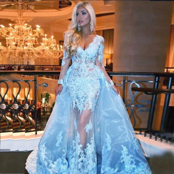 Fabulous Beaded Lace Prom Dresses With Detachable Skirt Long Sleeves Evening Dress A Line Overkirt Appliqued Organza Plus Size Formal Gowns