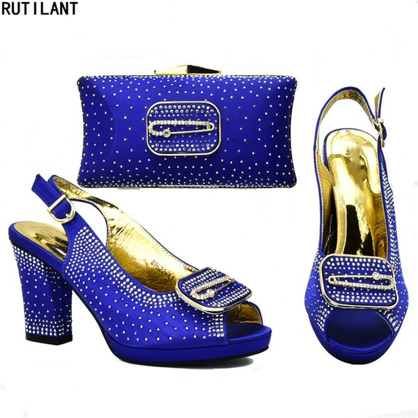 Italian Shoes with Matching Bags for Wedding Italy Women Nigerian Shoes and Bags High Quality African Party Shoes and Bag Set