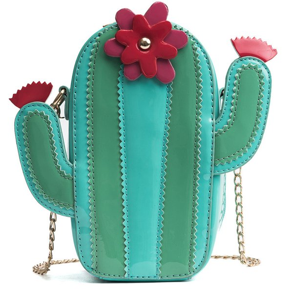 Cactus Flower Pattern Patchwork Handbag Girls Chain Messenger Bag Unique Novelty Design Kids Crossbody Cross Body Bag Handbags