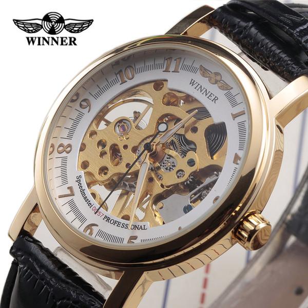 Nuevo Ganador de Moda Clásico Caja de Oro Ultra Delgada Correa de Cuero Relojes Hombres Mujeres Esqueleto Regalo Mecánico Reloj de Mano Relojes