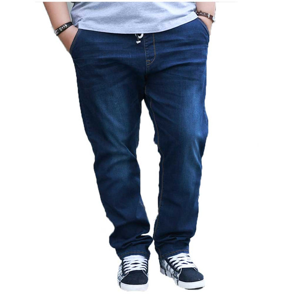 Plus Size Stretch Mens Jeans Spring Summer Thin Drawstring Waist Tapered Leg Denim Pants