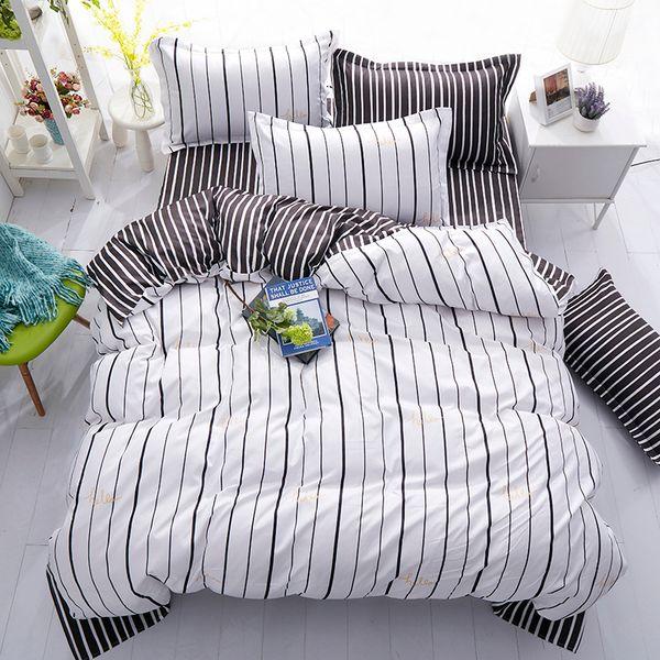 Fashion New Black White Grey Biancheria da letto classica Set Copripiumino a righe Lenzuola bianche Set Geometric Flat Sheet Queen Bed