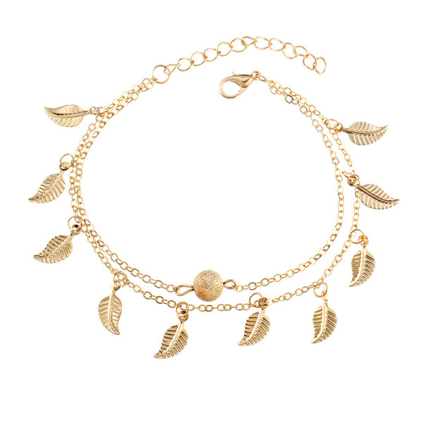 Silver Gold Double Layer Tassel Leaf Anklets Bracelets Beach Foot Chain Fashion Jewelry for Women K3408