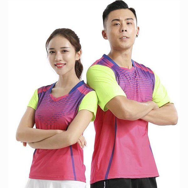 New Sport Gym Quick Dry atmungsaktives Badminton-Shirt Trikots, Damen / Herren Tischtennis Kleidung Team Spiel Training Laufen T-Shirts