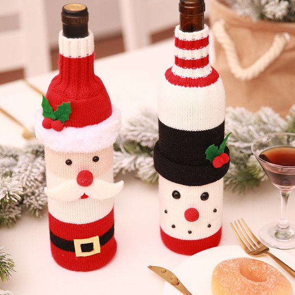 Christmas Wine Bottle Decor Set Santa Claus Snowman Bottle Cover Clothes Table Decoration For New Year Xmas Dinner Party