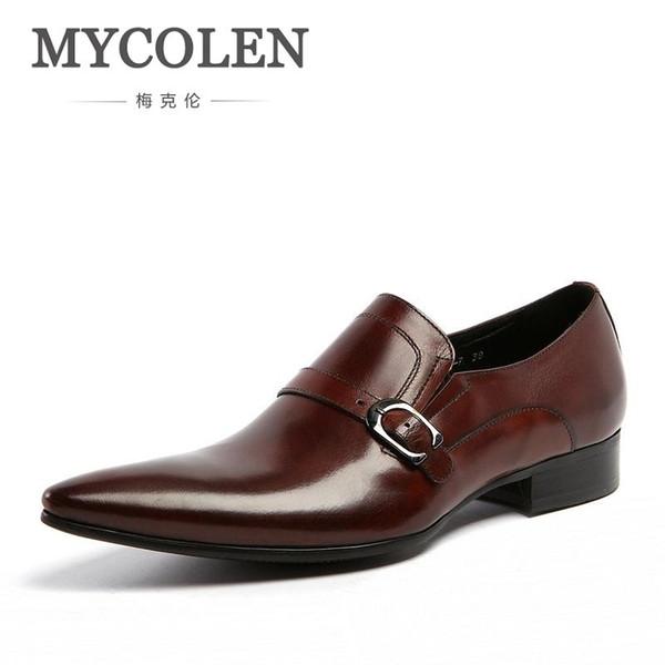 MYCOLEN Clásico cuero genuino hebillas zapatos de vestir de los hombres para la boda formal estilo de la oficina hombre marrón negro monje correa calzado