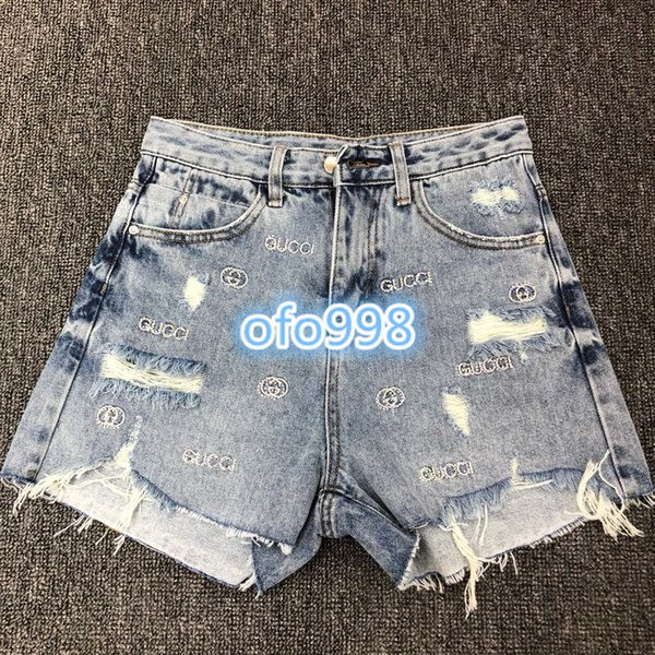 High end womens jeans shorts letter Hot drilling printing Women Shorts Frayed tassel hole womens Casual shorts Straight short