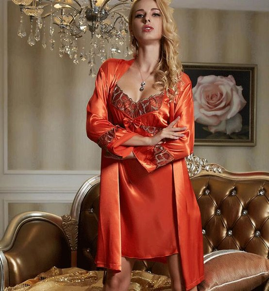 Robe Gown Set Sexy Red Women Nightwear 2 pieces/set Faux Silk Bathrobe Home Dress Sleepwear