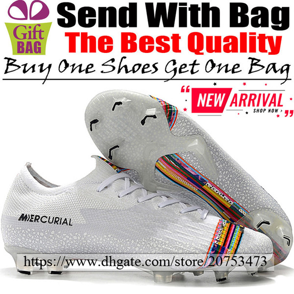 New Designer Football Shoes Mercurial Vapors XII FG ACC Soccer Boots Trainers Outdoor Low Football Cleats White Black Multicolor Size 6.5-12