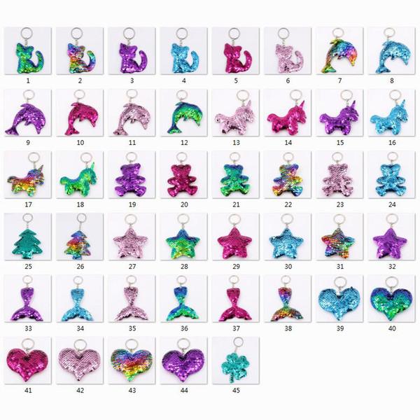 Meerjungfrau / Katze / Stern / Bär Frauen Mädchen Glanz Schlüsselring Handtasche Schmuck Schlüsselanhänger Pailletten Mode Schlüsselbund Anhänger Geschenk Tasche Zubehör