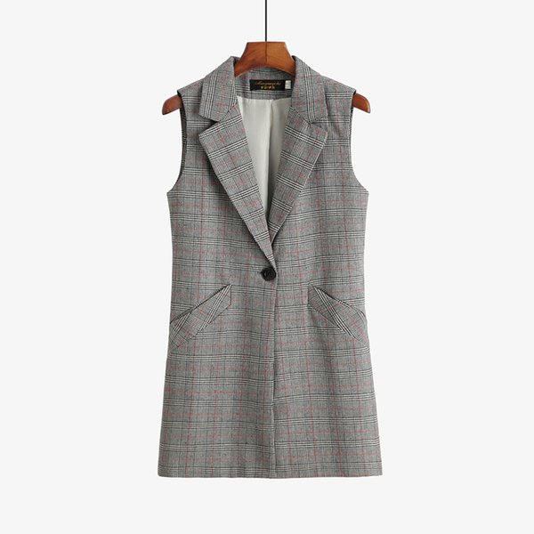 New Women Medium Long Gray Plaid Vest Korea Slim Sleeveless Coats Single Button Waistcoat Spring Autumn All Match Jacket S-3XL