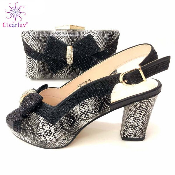 2019 Special Design Black Color Royal Wedding Clutch Bag Match African Women Shoes and Bag Matching Set with Comfortable Heels