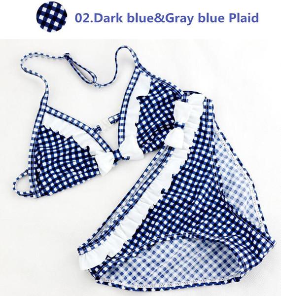 Kızlar Mayo 2 Parça Mavi / Kırmızı / Gri Ekose Çocuk Bikini Set 8-16Y Çocuk Mayo Mayo Yaz Plaj Yüzme Giyim