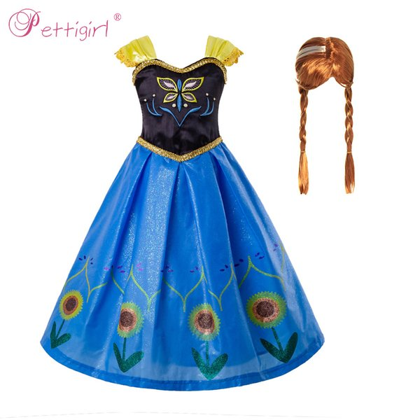 Pettigirl Girls Princess Dresses Anna Girls Dress With Sunflower Cosplay Costume Party Girl Cosplay Fancy Dress GD50708-1