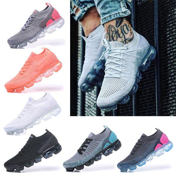 Nike Air VaporMax 2018 Flyknit 2.0 GERÇEK OLMAK GERÇEK Kadınlar Yumuşak Koşu Ayakkabıları Gerçek Kalite Maxes Moda Erkekler Için ayakkabı Spor Sneakers 36-40