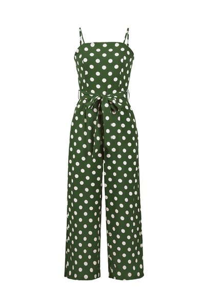 Women's New Products Explosion Fashion Loose Europe and America Sleeveless Strapless Strap Polka Dot Long Jumpsuit