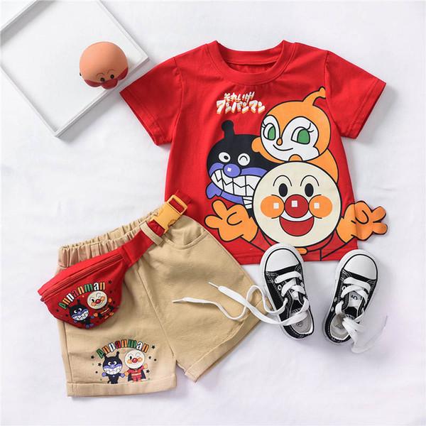 Miúdos dos desenhos animados Define crianças roupas de grife meninos Ternos de manga curta T shirt + Shorts + carteira bolsas crianças roupas crianças roupas A5192