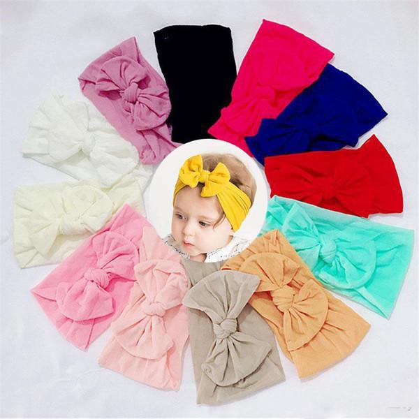 New Europe Fashion Infant Baby Nylon Headband Bowknot Head Band Kids Wide Hair Band Children Princess Soft Headwear 12 Colors