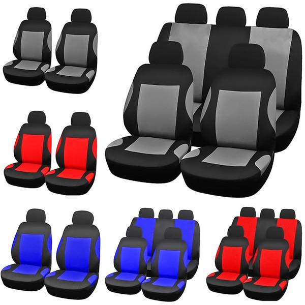 4Pcs / 9Pcs Set Cubierta de asiento de coche delantero trasero Automóviles Universal Fundas de asiento Protector Poliéster Four Seasons