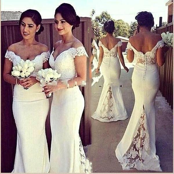 top popular 2021 Bridesmaid Dresses Chiffon Off Shoulder Lace Applique Maid of Honor Dresses Wedding Party Dresses Custom 2021