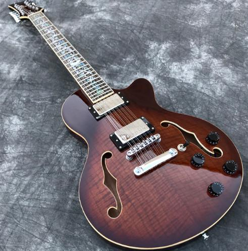 In Stock 12 Strings Semi Hollow body Electric Guitar with F holes Flame Maple top,Abalone Flower inlaid guitarra