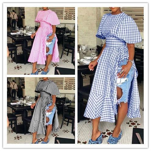 S-3XL Women Ruffles Split Dress 2019 Trendy Due lati della fessura Plaid Vita alta Abiti lunghi Manica corta Abito a balze Griglia Maxiskit C42206