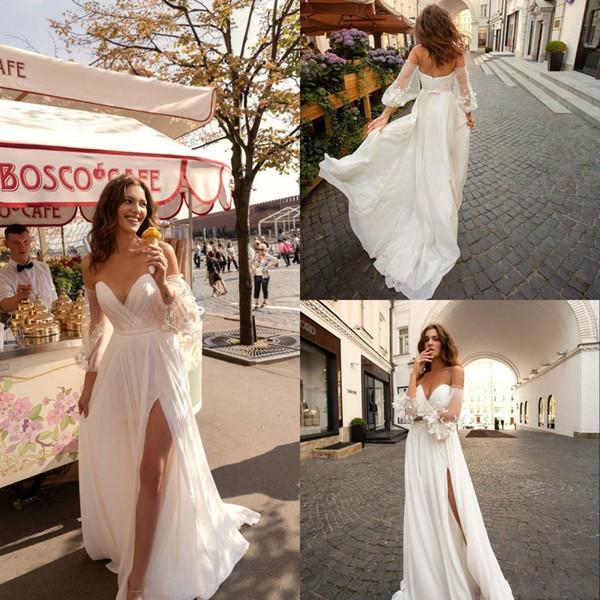 Novos vestidos de casamento da praia 2019 Lace querido boêmio vestido de casamento com destacável mangas Side Split Boho vestidos de noiva Custom BC1793