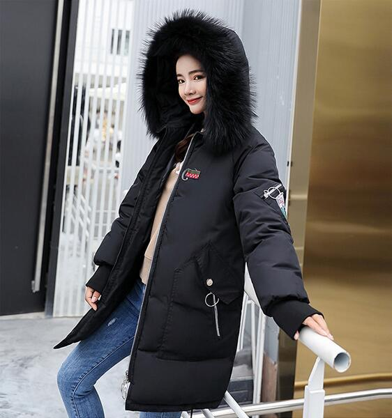 02 free shipping 2018 winter new cotton coat female Korean version of the long section of the large fur collar ladies cotton padded cold-res
