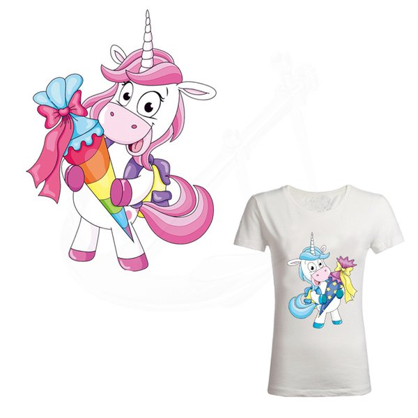 2018 New cute Dabbing Unicorn patches 24*19cm Diy girls T-shirt Dresses Sweater thermal transfer Patch for clothing