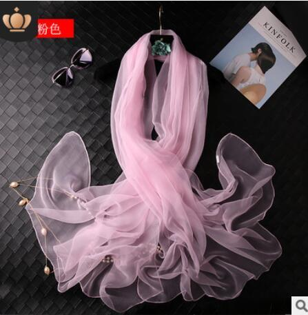 Silk scarf women's Korean fashion simple thin pure color chiffon silk scarf autumn new silk scarf wholesale