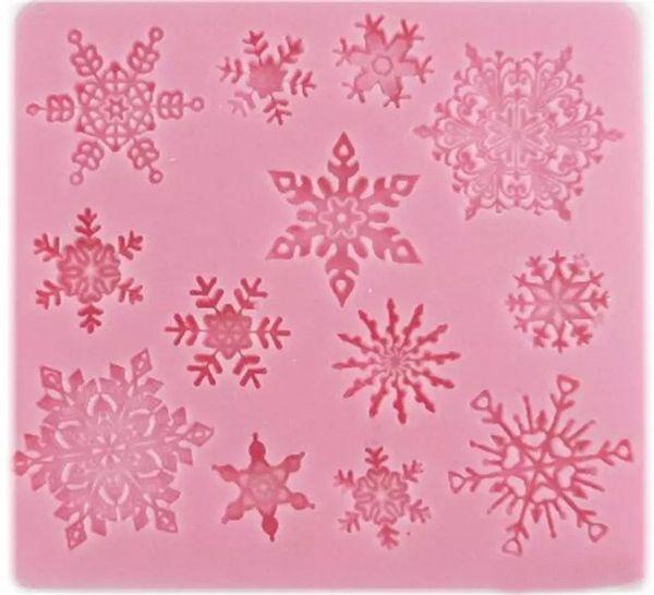 Stampo in silicone 3D Stampi in silicone Fiocco di neve a forma di stella Decorazioni di Natale Pizzo Chocolate Party DIY Fondente di cottura Strumenti di decorazione