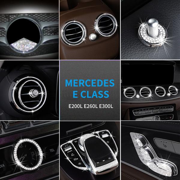 Para Mercedes Clase E200L E260L E300L Diamante de imitación Interior del volante Motor Cadena Capucha Parrilla Parrilla Etiqueta engomada del emblema