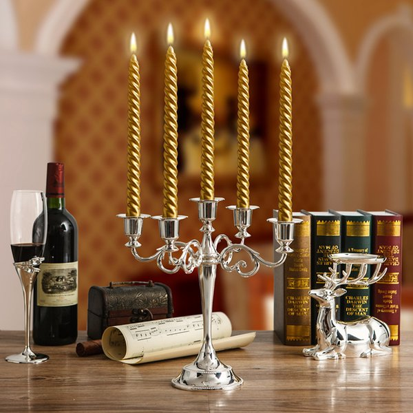 Free shiping Wholesale Silver/Gold/Black/Bronze Metal Candle Holder 5-arms/3-arms Candle Stand Wedding Candlestick Candelabra
