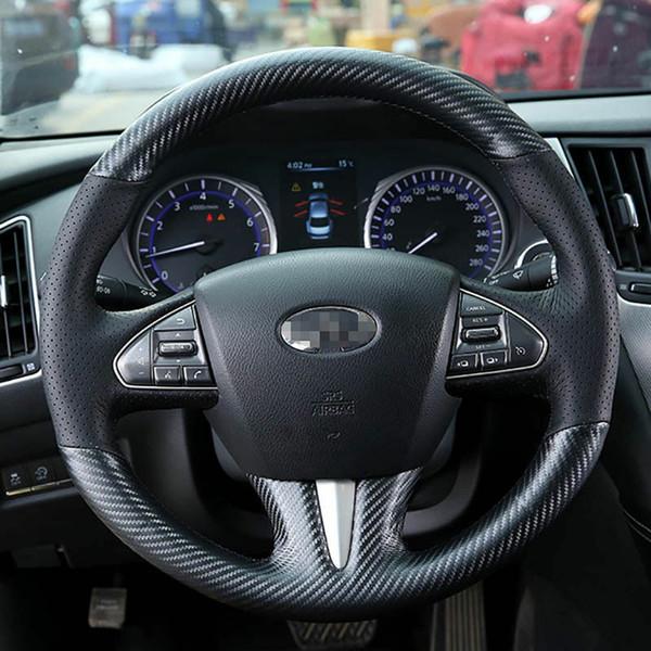 Tampa de volante da fibra do carbono do couro da parte superior da costura da mão para Infiniti Q50