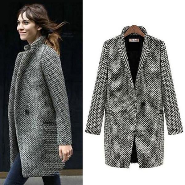 Fashion Long Woolen Women Coat Female Plus Size Winter Autumn Plaid Jacket 2018 Wool Blend Cape Coat Tweed Outwear 5XL 6XL 7XL C19011601