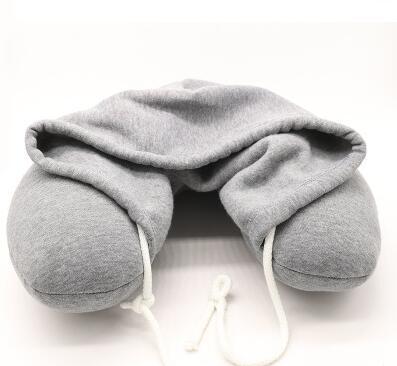 Yumuşak Kapşonlu U yastık Vücut Boyun Yastık Katı Gri Nap Pamuk Parçacık Yastık Tekstil Ev Uçak Araba Seyahat Yastık