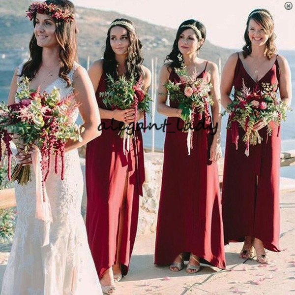 Burgundy Bridesmaid Dress with Split 2019 A-Line Spaghetti Straps Floor-Length Bohemian Country Junior Wedding Guest Party Dress