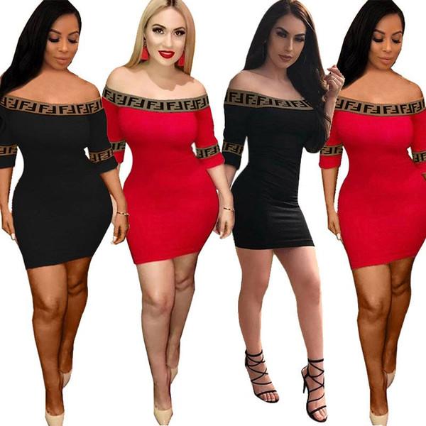 FF Letter Skinny Dress Women Sports Letter Printed Short Sleeve T shirts Tee Off Shoulder Patchwork Striped Dresses Short Skirt 2019 C5702