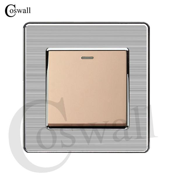 Lichtschalter Coswall 1 Gang 2 Way Luxus Push Button Wandschalter Unterbrecher Edelstahl Panel AC 110 ~ 250 V Größe des Panels 86mm * 86mm