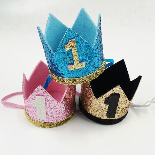 Junge blau silber erste geburtstag hut mädchen gold rosa priness krone nummer 1 2 3 jahre alt party hut glitter geburtstag diy dekor