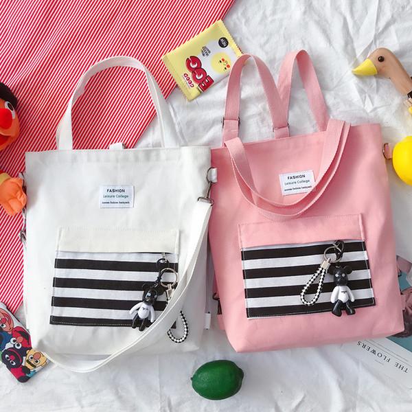 Casual Bez GGA3196-6 Alışveriş Kız Çizgili Tuval Tasarım Çantalar Sırt Çantası Fermuar Bir Omuz Çantaları Büyük Kapasiteli Seyahat Saklama Poşetleri