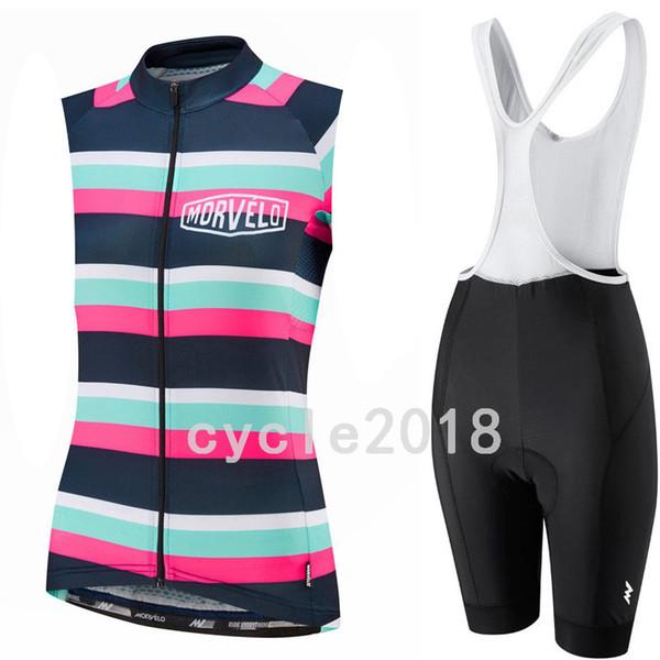 2019 Morvelo moda verão Ciclismo Sem Mangas jersey Colete Respirável conjuntos de bermudas Feminino Esportes ternos delicados
